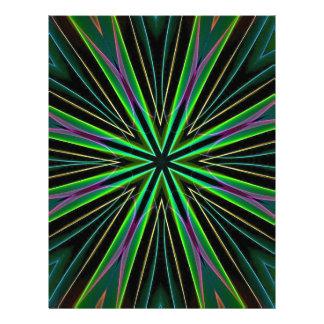 Neon Fluorescent Green Lavender Star Burst Personalized Letterhead