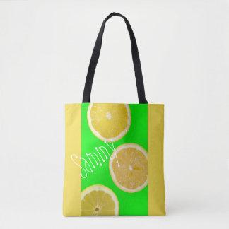 Neon Fluorescent Green Yellow Lemons Name Tote