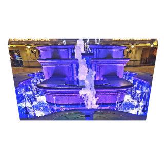 Neon Fluorescent Purple Blue Water Indoor Fountain Canvas Print