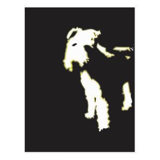 Neon fox terrier postcard