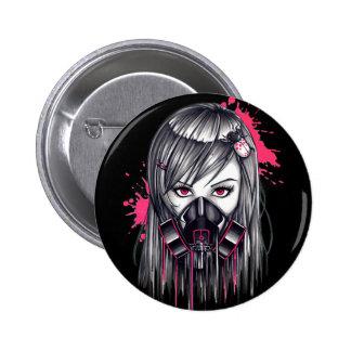 Neon Gas Mask Girl 2 Inch Round Button