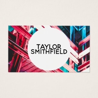 neon geometric hallway street grunge business card