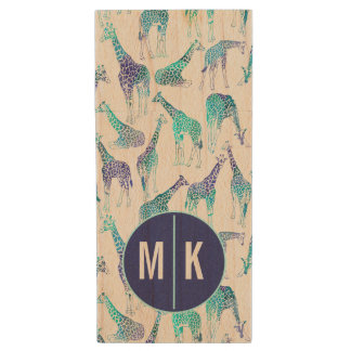 Neon Giraffes | Monogram Wood USB 2.0 Flash Drive