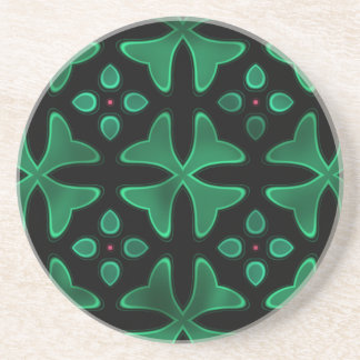 Neon Glass 3 Black Green Beverage Coasters