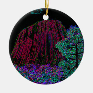 Neon Glow Devils Tower Round Ceramic Ornament