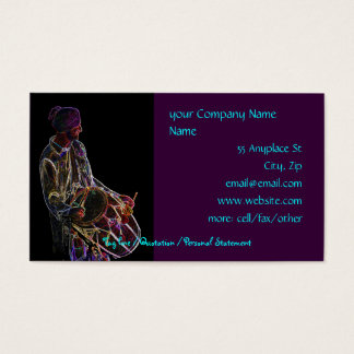 Neon Glow Dhol Drummer business card template