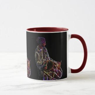 Neon Glow Dhol Drummer ringer mug