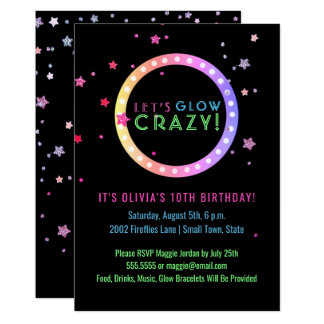 Neon Glow in the Dark Birthday Party | Kids Party Card