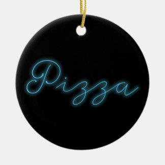 Neon Glow Pizza Round Ceramic Ornament