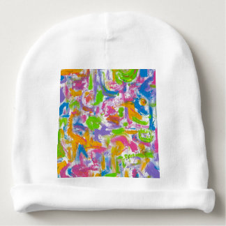 Neon Graffiti-Abstract Art Brushstrokes Baby Beanie