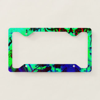 Neon green abstract license plate frame