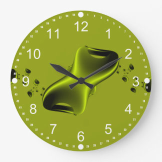 Neon Green and Black Fractal Clocks