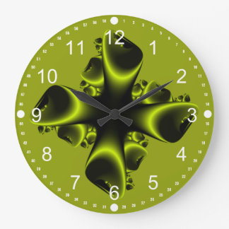 Neon Green and Black Fractal Explosion Large Clock