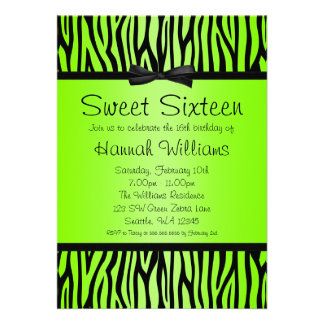 Neon Green and Black Zebra Bow Sweet 16 Birthday Custom Invite