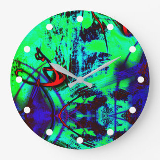 Neon Green And Blue Abstract Pattern Large Clock
