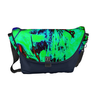 Neon Green And Blue Abstract Pattern Messenger Bags