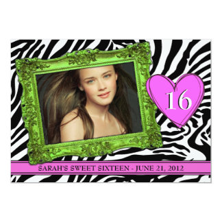 """Neon Green and Pink Sweet Sixteen 5"""" X 7"""" Invitation Card"""