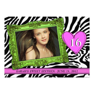 Neon Green and Pink Sweet Sixteen Custom Invites