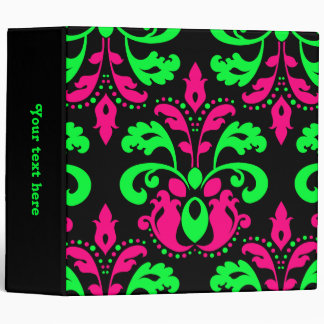 Neon green and pink vintage damask 3 ring binders