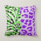 Neon Green and Purple Safari Print Throw Pillow