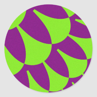 Neon Green and Purple Scales Large Round Stickers