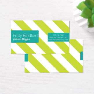 Neon Green and Teal Striped Business Cards