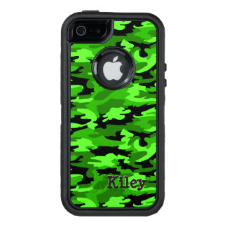 Neon Green & Black Camouflage Print OtterBox Defender iPhone Case