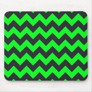 Neon green black chevron pattern mouse pad