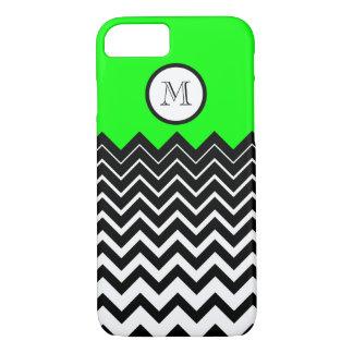 Neon Green Black White Chevron Zigzag Monogram iPhone 7 Case