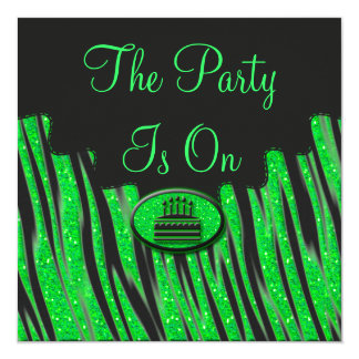 "Neon Green & Black Zebra Glitter Birthday 5.25"" Square Invitation Card"