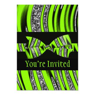 """Neon Green & Black Zebra Glitter Stripes 5"""" X 7"""" Invitation Card"""