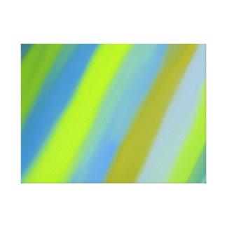 Neon green blue stripes pattern canvas print