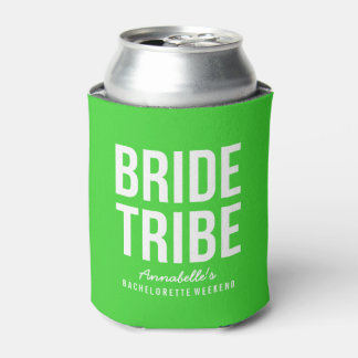 Neon Green Bride Tribe Can Cooler
