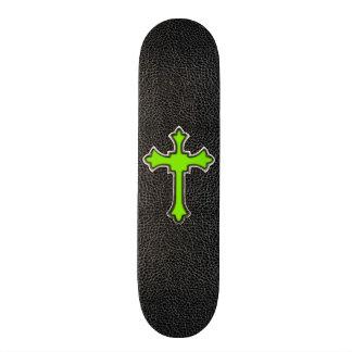 Neon Green Cross Black Vintage Leather Image Print Skateboard Decks