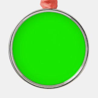 Neon Green Custom Colored personalized Metal Ornament