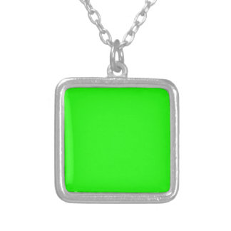 Neon Green Custom Colored personalized Silver Plated Necklace