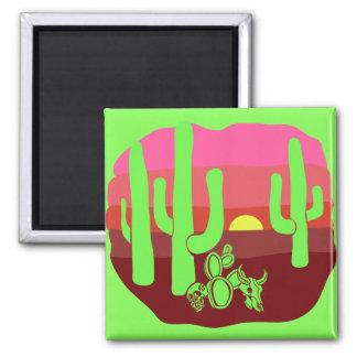 Neon Green Desert Skulls Cacti Sunset Magnet