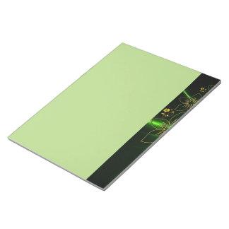 Neon Green Floral Fractal Memo Pad