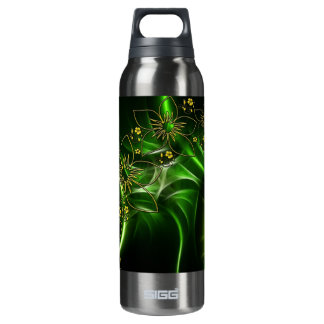 Neon Green Floral Fractal 16 Oz Insulated SIGG Thermos Water Bottle