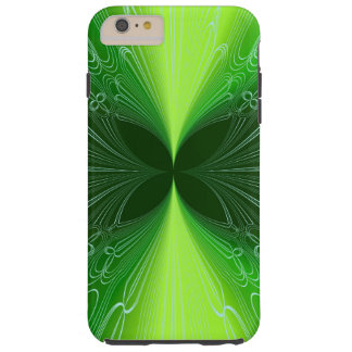 Neon Green Futuristic Cyber Abstract Lasers Tough iPhone 6 Plus Case
