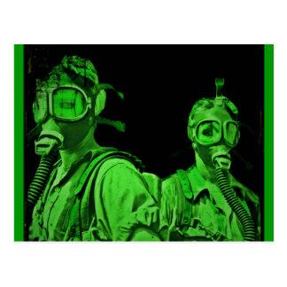 Neon Green Gas Masks Postcard