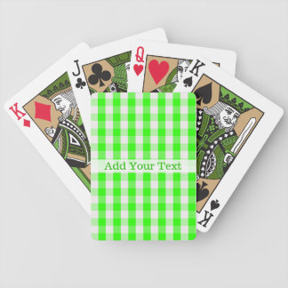 Neon Green Gingham Pattern by Shirley Taylor Bicycle Playing Cards