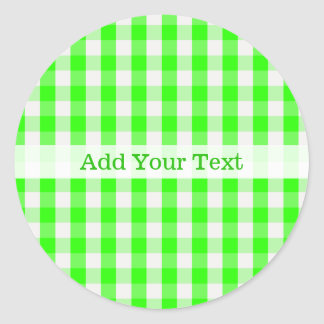 Neon Green Gingham Pattern by Shirley Taylor Classic Round Sticker