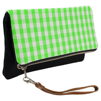 Neon Green Gingham Pattern by Shirley Taylor Clutch