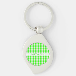 Neon Green Gingham Pattern by Shirley Taylor Keychain