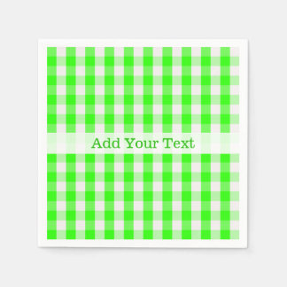 Neon Green Gingham Pattern by Shirley Taylor Paper Napkin