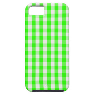 Neon Green Gingham Pattern iPhone 5 Case