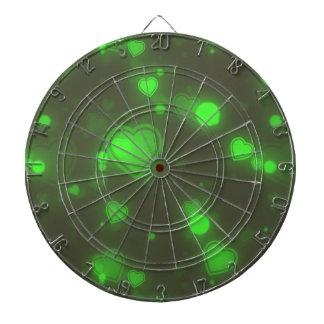 Neon Green Glitter Bubble Hearts Dartboard