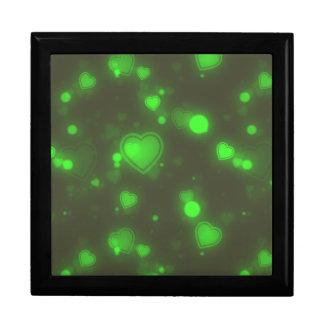 Neon Green Glitter Bubble Hearts Gift Box