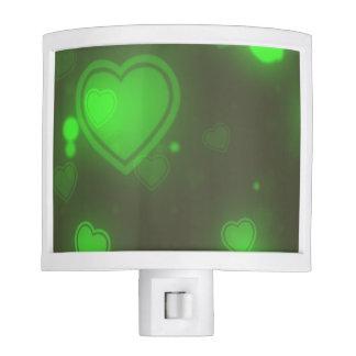 Neon Green Glitter Bubble Hearts Night Light